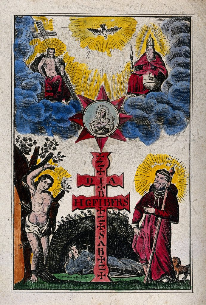 A plague cross surrounded by St. Sebastian, St. Roch, and St